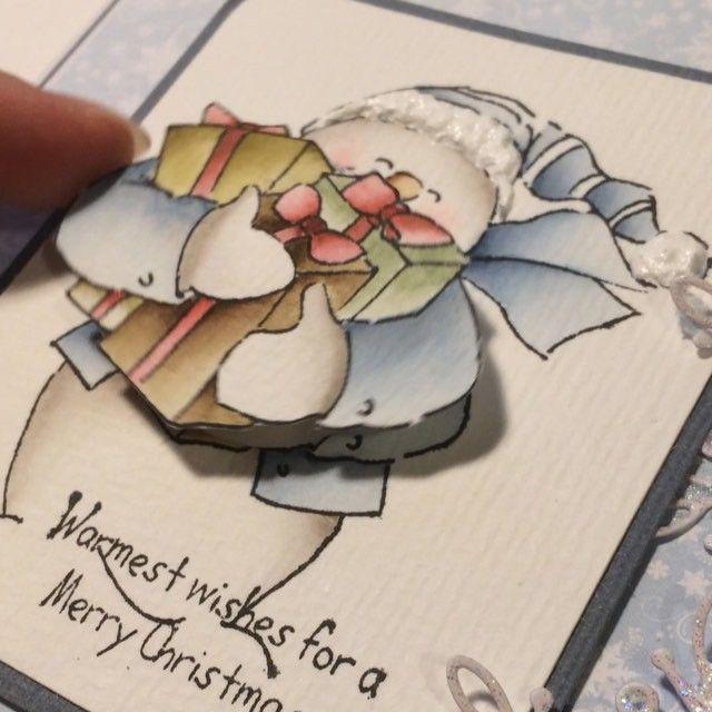 Wobbles er morsomt på #julekort med stempel fra #artimpressionsstamps  #hobbykunst #hobbykunstnorge