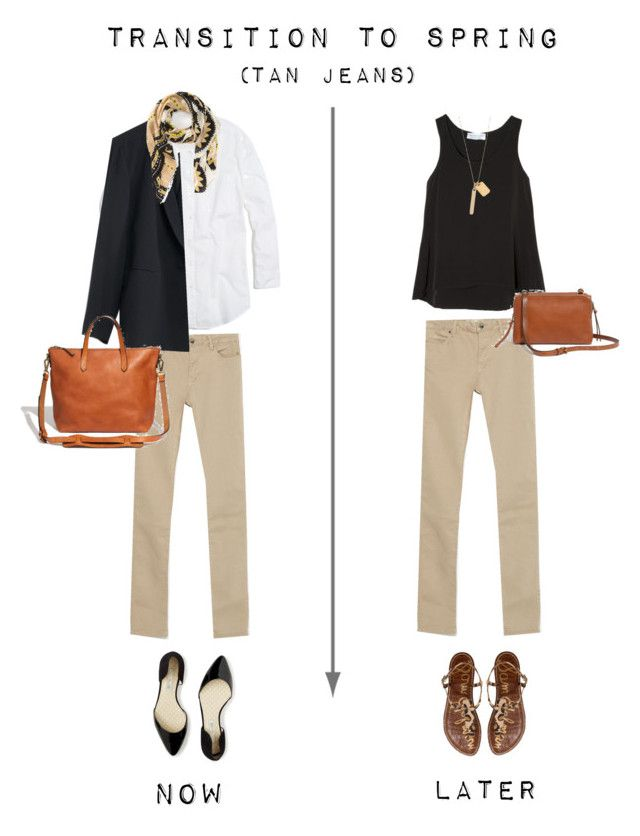 """Transition to Spring - Tan Jeans"" by bluehydrangea ❤ liked on Polyvore featuring Zara, Boden, Madewell, T+C by Theodora & Callum and Sam Edelman"