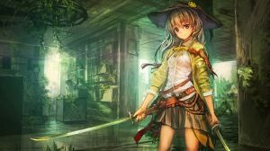 Preview wallpaper art, lm7, op-center, girl, katana, weapons, hat, smiley, anime 1366x768