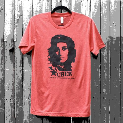 Che / Cher Guevara--Do You Believe In Life After Love Tee:Love, love, love this Cher as Che Do You Believe In Life After Love tee by FencingNArchery.  But what makes this Che tee so perfect, besides Cher being a revolutionary in her own right, is what reads under her name in Spanish (Che's native tongue): ¿CREES EN LA VIDA DESPUÉS DEL AMOR? or Do You Believe In Love After Love?