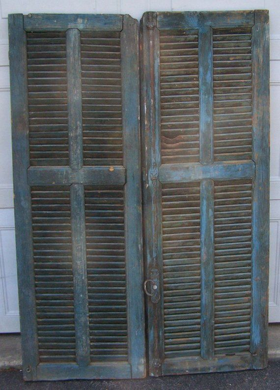 Shutters Mediterranean Window Shutters Antique Wooden Architectural Blue Rustic Old Shutters Salvage Wall Old Shutters Decorative Pieces Architectural Elements