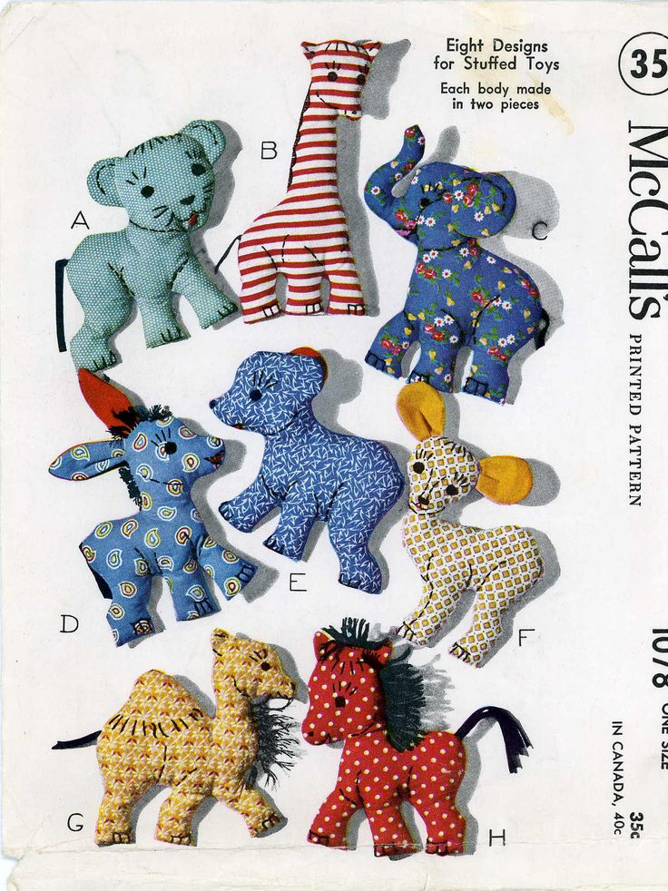 Stuffed Toy Pattern 1078 Easy To Make Vintage 1950s Toy