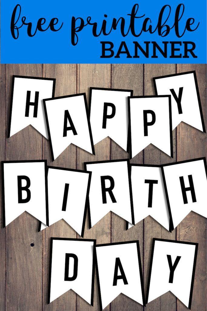 Free Happy Birthday Banner Printable Sign Paper Trail Design Birthday Banner Free Printable Printable Birthday Banner Happy Birthday Banner Printable