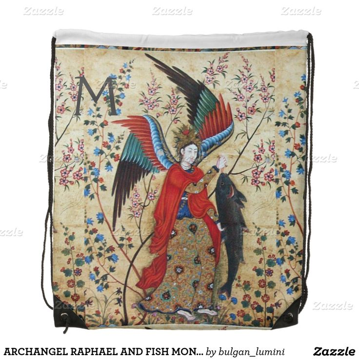 ARCHANGEL RAPHAEL AND FISH MONOGRAM CINCH BAG