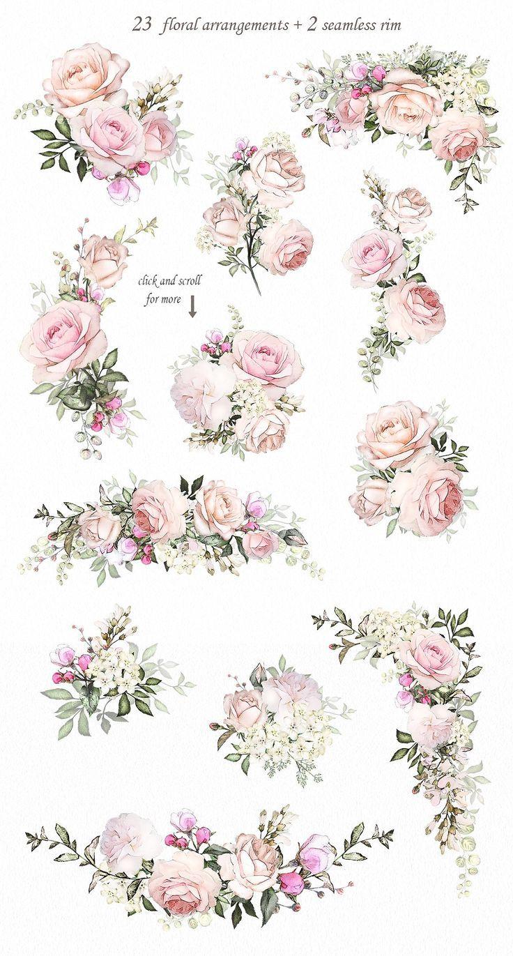 Liebe & Rosen. Blumenmuster von LisimArt auf Cre … – #Cre #Design #Floral #Li …   – Renee