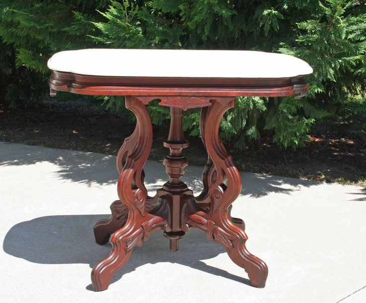Grand Victorian Renaissance Revival Walnut Marble Turtle Top Parlor Center  Table #Victorian