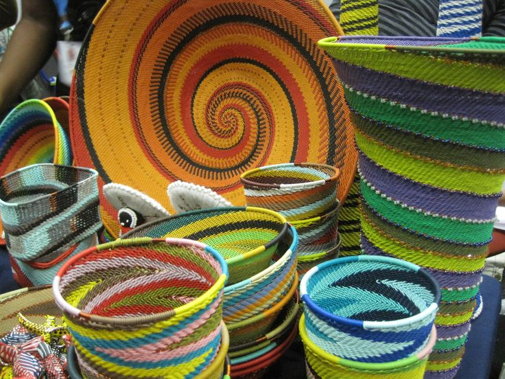 Africa | Collection of Telephone Wire baskets from KwaZulu Natal, South Africa.