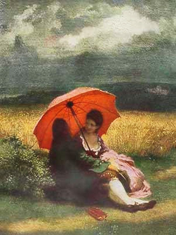 Josef Mánes - Lovers / Red umbrella (1855)