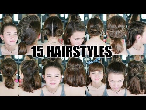 15 Heatless Hairstyles for SHORT hair BACK TO SCHOOL – YouTube
