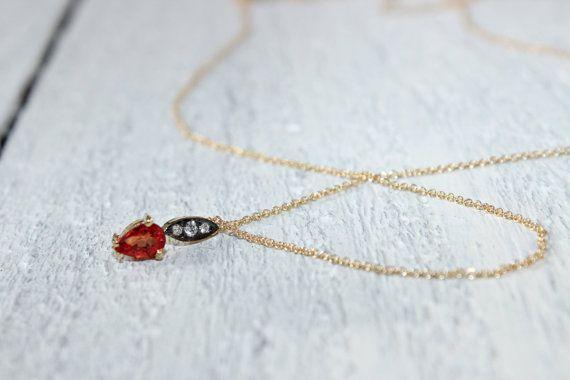 Orange Sapphire Necklace Rare Natural Sapphire Necklace