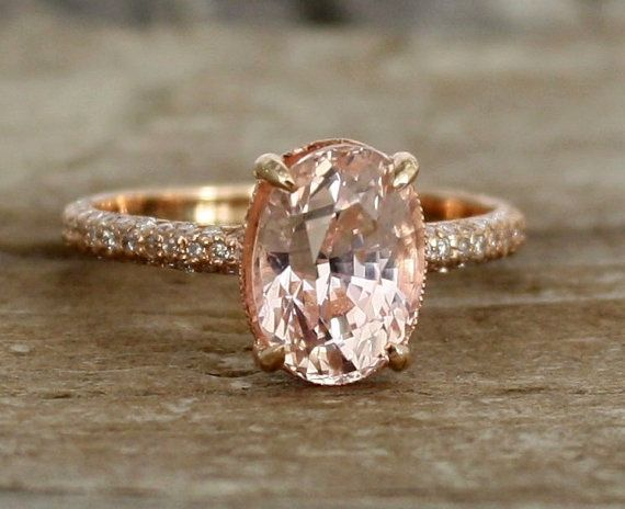 The 25 best solitaire diamond engagement ring ideas on pinterest on hold oval peach champagne sapphire solitaire diamond engagement ring in rose gold junglespirit Images