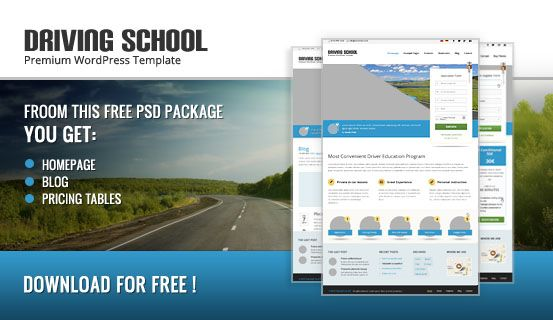 This #free package includes 3 #PSD file (Homepage, Blog and Pricing Table) of creative Drivingschool #WordPress Theme. Download and have fun with them in your web project!