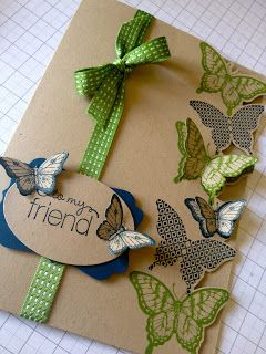 Gumball Green & Midnight Muse ink, Papillon Potpourri, Bitty Butterfly, Elegant Butterfly, xl oval and decorative label punch, crumb cake and midnight muse card stock, gumball green stitched ribbon, friendly phrases stamp set