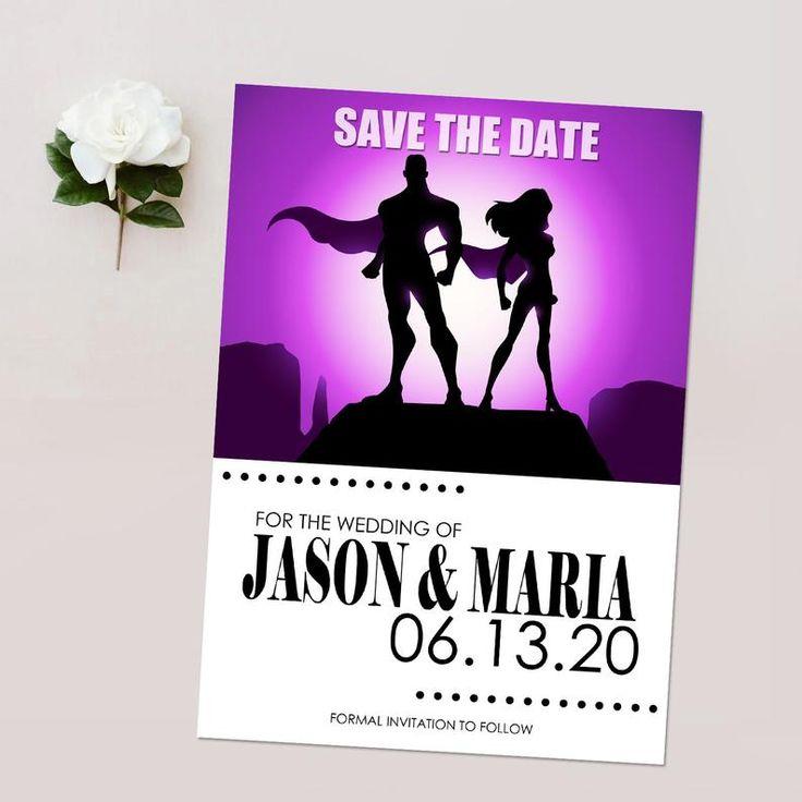 Superhero Comic Save the Dates, Superhero Theme Wedding, Geek Wedding Invitation – PRINTABLE – Download