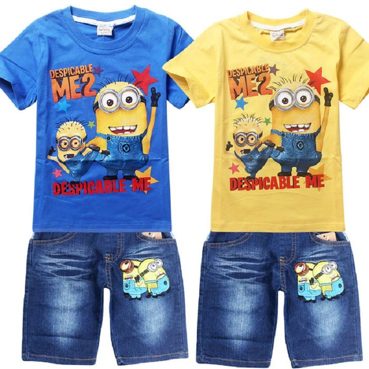 Kids Clothes Baby Boys Clothing Children Suits Despicable Me 2 minion Kids Boy Set T-shirt+Jeans Cartoon Clothes Sports Suit