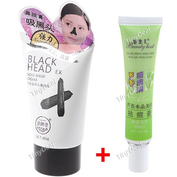 Magic Charcoal Comedo Removal Nose Mask Black Head Blackhead Remover Cleaner + Aloe Acne Remover Cream
