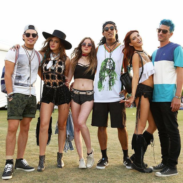 Bella Thorne wearing GLAMOROUS 'Black Crochet Detailed Fringe Top' at Coachella 2016 < @GlamorousUK www.glamorous.com >