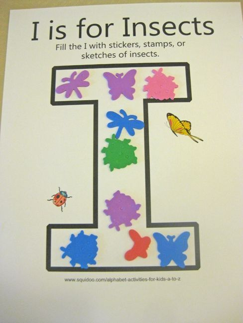alphabet activites for kids i is for insects ***free worksheet***