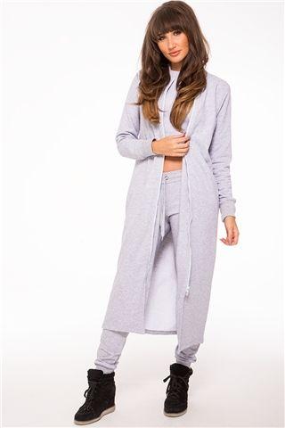 Megan McKenna Grey Longline Jersey Jacket