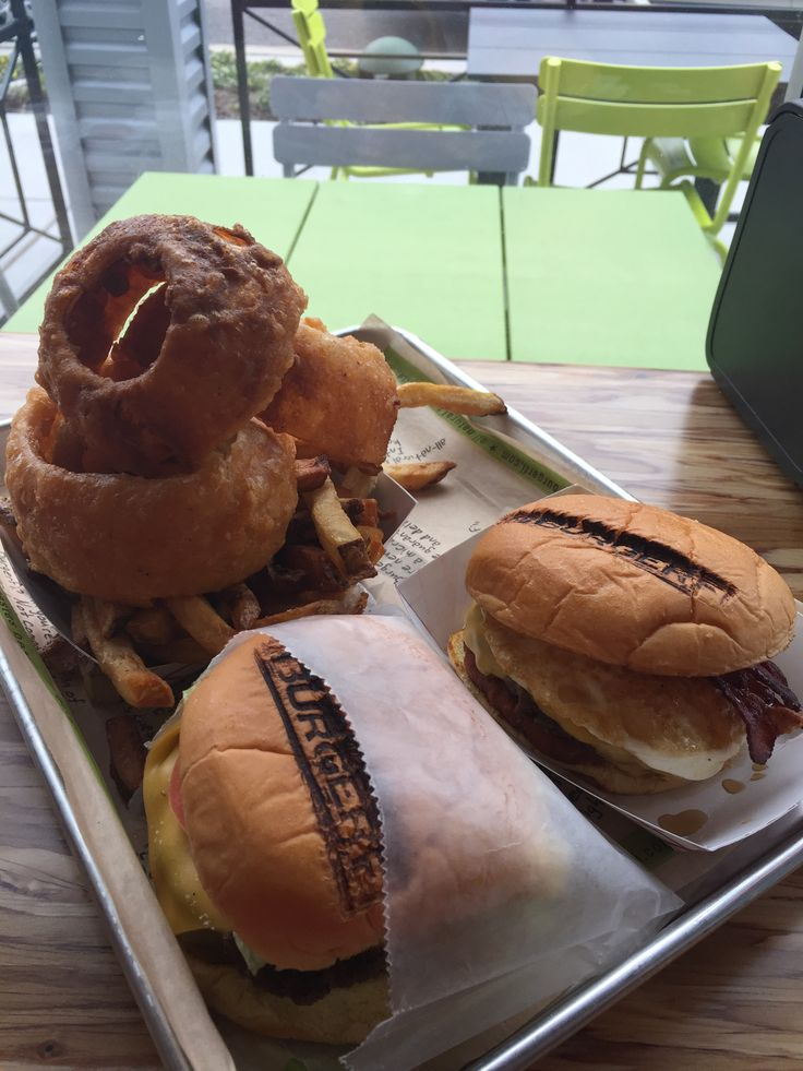 BurgerFi (Breakfast All Day Burger, Conflicted Burger, Onion Rings ...