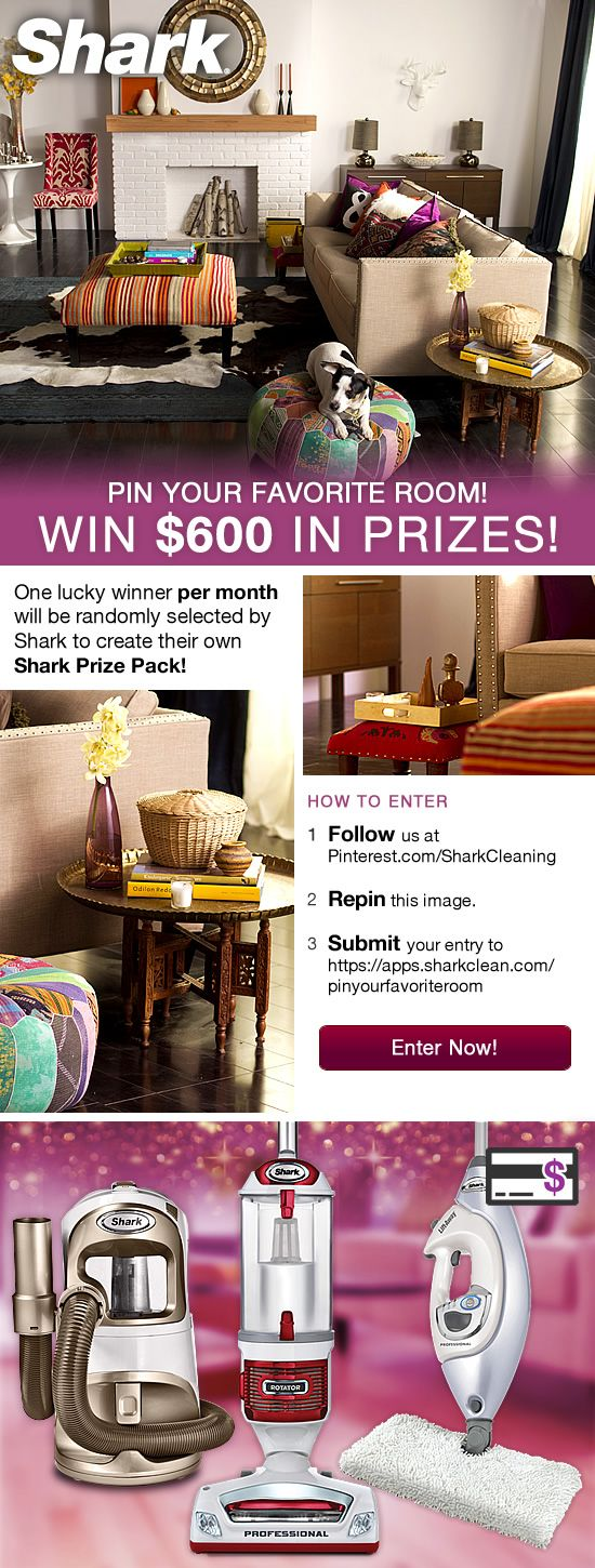 Shark Cleaning Pin Your Favorite Room Sweepstakes  #SharkClean #RepinToWin