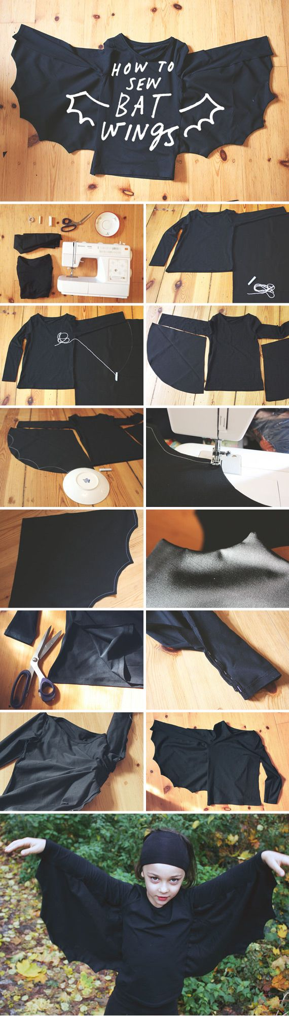 Stitch up a DIY bat costume with this exclusive tutorial on the Etsy Blog. #DIY #halloween: