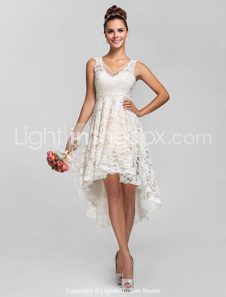 A line princess v neck asymmetrical lace bridesmaid dress for V neck a line wedding dresses