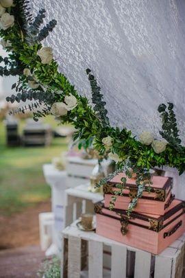 Wedding Decor - White and Pink Wedding Decor with Trunks and Green Wreaths | WedMeGood  #wedmegood #trunks #indianwedding #decor #weddingdecor #diydecor #pink