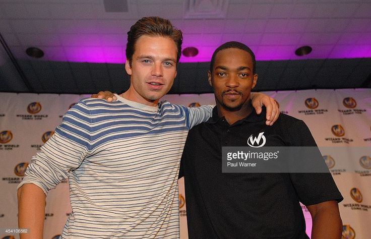 'Captain America' actors Sebastian Stan (L) and Anthony Mackie attend Wizard World Chicago Comic Con 2014 at Donald E. Stephens Convention Center on August 24, 2014 in Chicago, Illinois.