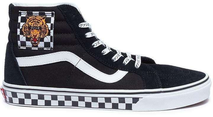 Vans 'Sk8-Hi' tiger checkerboard patch