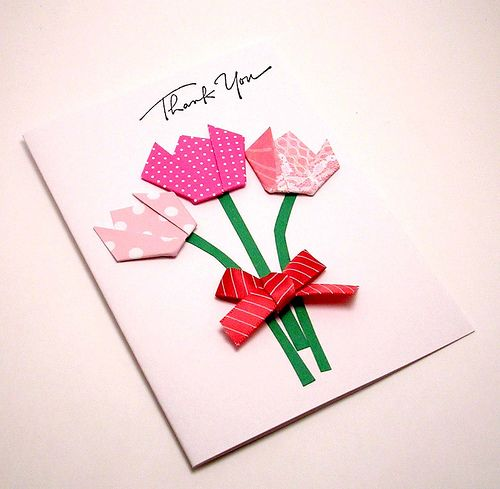 origami flower card kittykatkards  greeting cards  pinterest