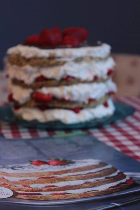 Good Food layered strawberry and poppyseed cake by Verona