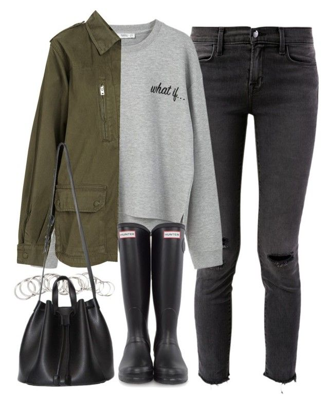 """outfit for winter with wellington boots"" by ferned on Polyvore featuring J Brand, MANGO, H&M and Hunter"