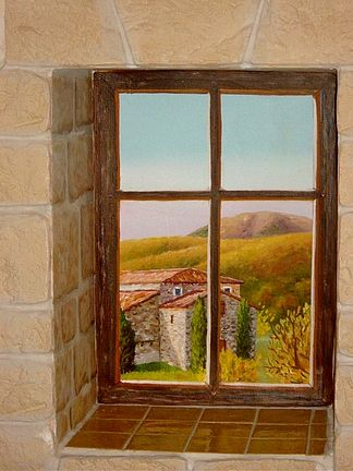 Fenêtre interieure en trompe l'oeil