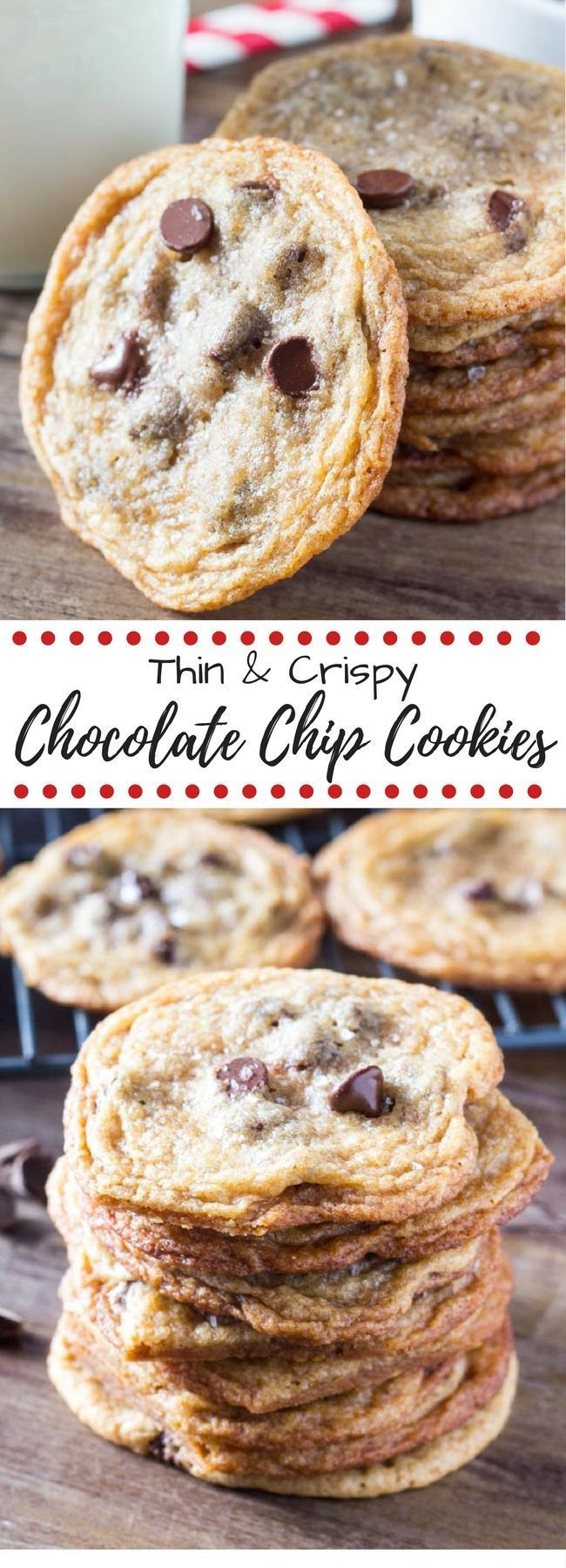 These thin and crispy chocolate chip cookies have a delicious caramel flavor and golden edges. So addictive & perfect for cookie stacking!