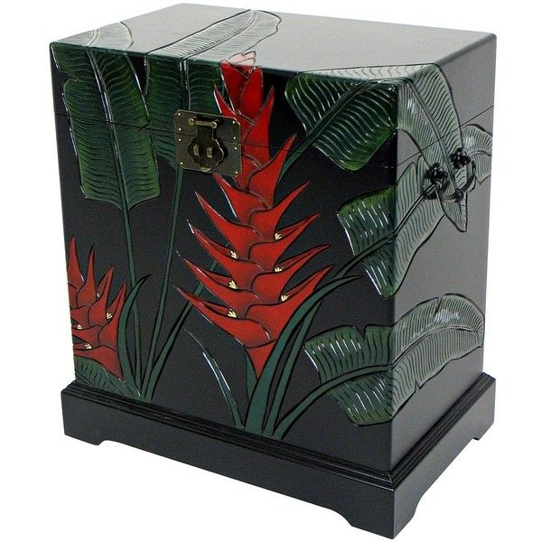 Tropical Heliconia Flower Carved Storage Trunk (£155) ❤ liked on Polyvore featuring home, home decor, small item storage, cabinets and storage, floral box, wood flower box, wood storage box, storage boxes and wooden flower boxes