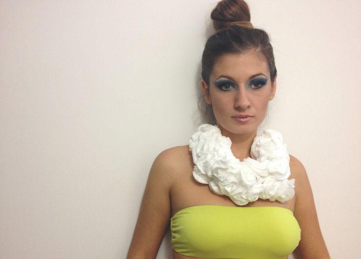 """Head in the clouds""  Cotton pad neckpiece.  #jewelrydesign"