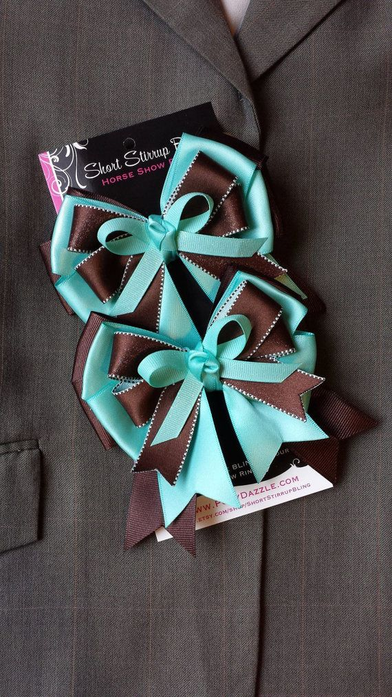 Aqua Blue & Brown EQuestrian Horse Show Bow Shorties