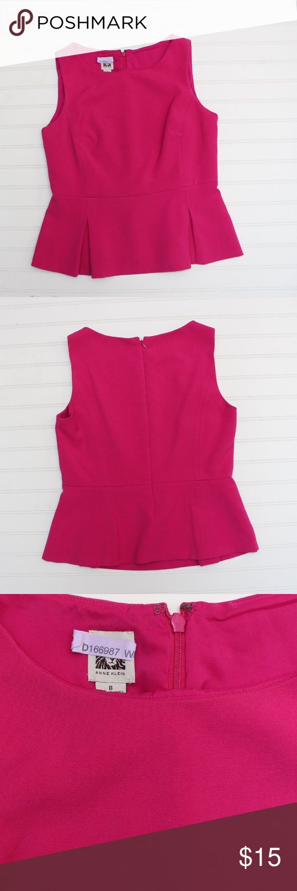 Anne Klein Pink Peplum top I just love peplum tops, I think they're sophisticated yet fun and flirty, waist flattering especially for girls who don't have hips (like me) 😁 pretty color great for spring! Pair this with a white pencil skirt and you're set for Easter or pair it with black and your good for the office, wear it with skinny jeans and some pink floral shoes and you have a fun flirty happy hour outfit. Lots of ways to wear this versatile top. Anne Klein Tops Blouses