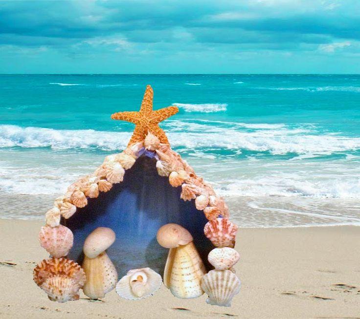 Sea Shell Nativity on Beach photo
