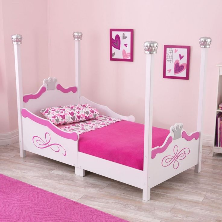 Chic Princess Themed Bed Frame With Canopy With Pink Bedding Set With Chic Pink Wall Arts Toddler Girl Bedroom