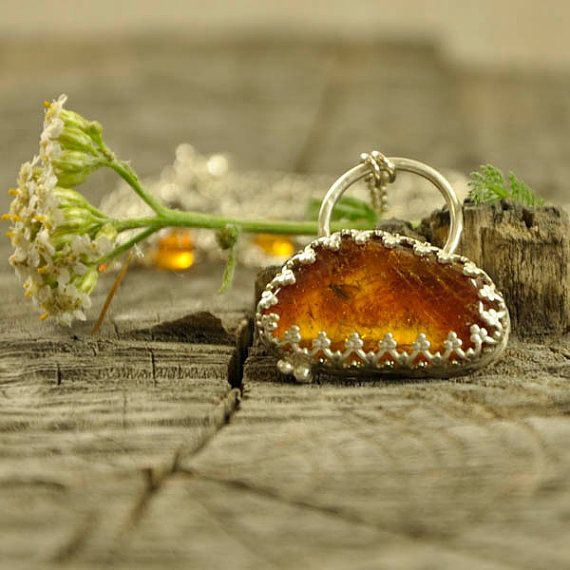 Together  Baltic amber insect long necklace  sterling by Ankanate