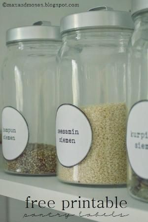 pantry labels - free printable | in English, Finnish and without text by P.I.A