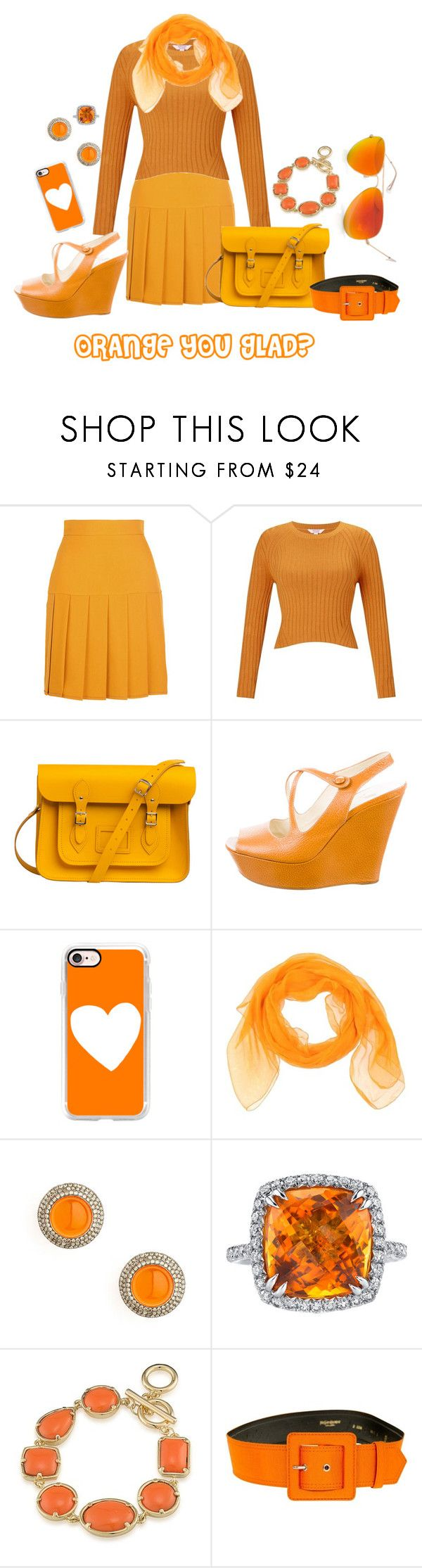 """""""Orange you glad?"""" by grace-buerklin ❤ liked on Polyvore featuring Gucci, Miss Selfridge, The Cambridge Satchel Company, Prada, Casetify, Idea Plus, Syna, Michael Barin, 1st & Gorgeous by Carolee and Yves Saint Laurent"""