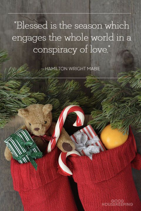 """Blessed is the season which engages the whole world in a conspiracy of love."" We love this beautiful Christmas quote by Hamilton Wright Mabie. Click through for more Christmas quotes to inspire your holiday chalkboard."