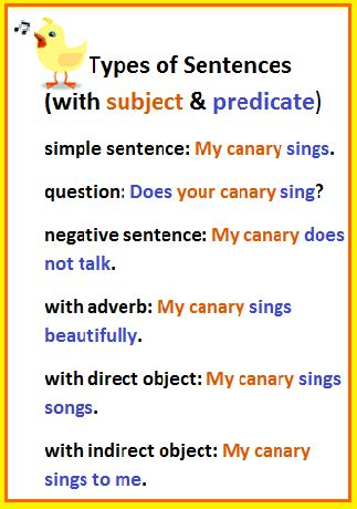 English sentence structure-- types of sentences. This image shows different types of simple sentences. (