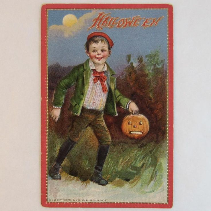 Tuck's Halloween Postcard Boy with JOL Jack O Lantern Embossed Printed in Saxony Germany Raphael Tuck & Sons