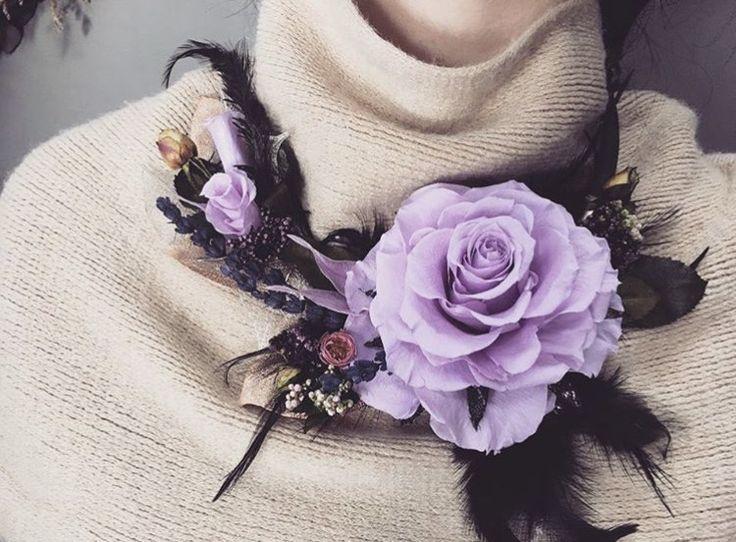 Preserved flower,necklace  Light purple...