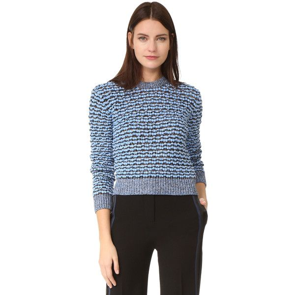 Carven Sweater (7.000 RUB) ❤ liked on Polyvore featuring tops, sweaters, striped top, long sleeve sweater, loose sweaters, crew-neck sweaters and long sleeve tops