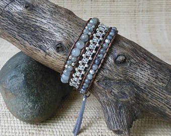 Labradorite Leather Wrap Bracelet/Gray Wrap Bracelet/3 Wrap Bracelet/Gift for Her/3rd Anniversary/Leo Woman Jewelry/Hamsa Hand/Boho Jewelry